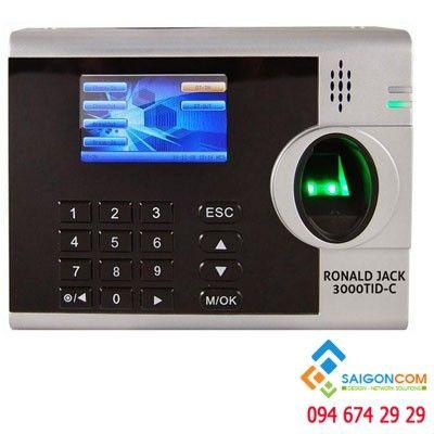 Máy chấm công 3000 vân tay + 3000 thẻ cảm ứng  RONALD JACK màn hình trắng đen siêu bền