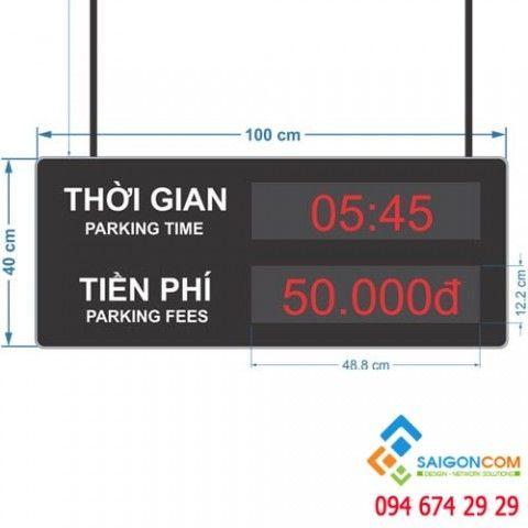 Bảng LED matrix hiện thị thời gian và phí giữ xe 2 mặt trong nhà