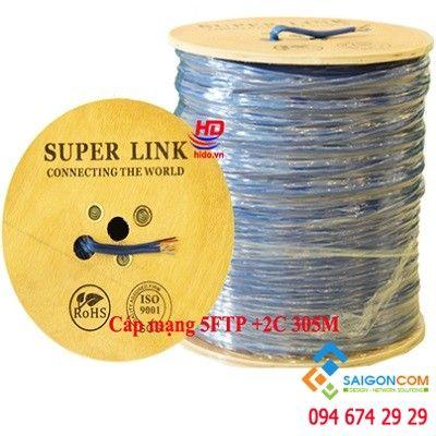 Cáp mạng Super Link  CAT5E FTP+2C- kèm dây nguồn
