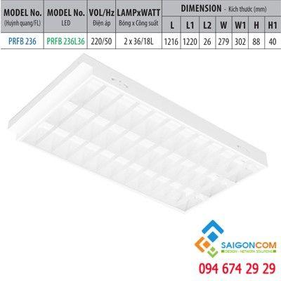 Máng đèn led huỳnh quang 3 bóng/ led loại âm trần PRFB 336