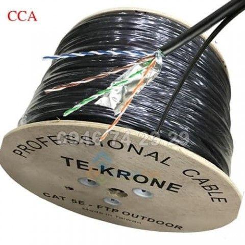 Cáp mạng FTP có dây kẹm cường lực  Cat5E CCA ngoài trời pha nhôm, có bọc bạc chống nhiễu