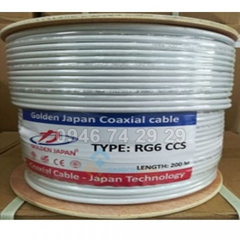 Cáp Đồng Trục RG6Plus-CCS GOLDEN JAPAN  128 tim- 305m