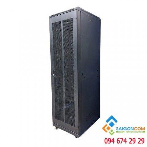 Tủ Comrack 42U D1000 (H2020xW600xD1070) cửa lưới, dùng trong nhà, day 1.2mm
