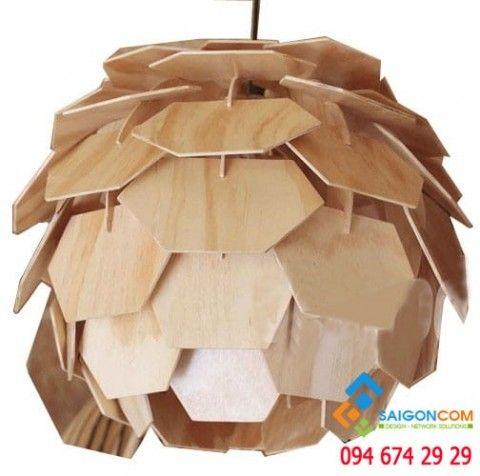 Đèn Led thả gỗ mỹ nghệ hoa cúc