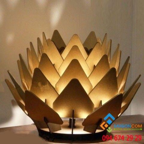 Đèn Led gỗ mỹ nghệ trang trí  đài sen  để bàn