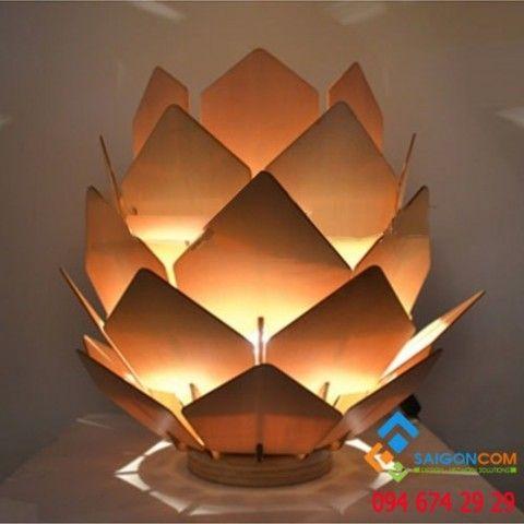 Đèn Led gỗ mỹ nghệ trang trí  hoa sen  để bàn