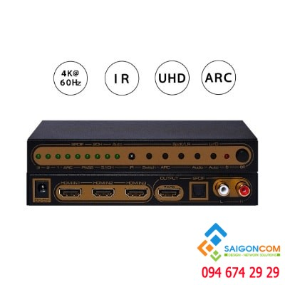 HDMI V2.0 3X1 Switch with Audio Extractor