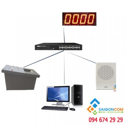 Bộ lấy số tự động tại một quầy ( máy lấy số, bảng led, phần mềm, phím, loa thông báo )