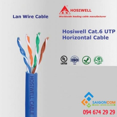 Cáp mạng Hosiwell Cat.6 UTP 4P x 23 AWG