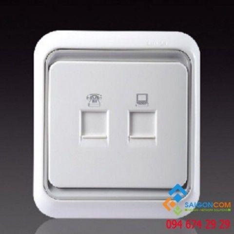 Bộ ổ cắm điện thoại RJ11 và dữ liệu chuẩn RJ45 cat.6 60599S6-50 Simon