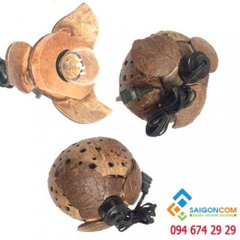 Đèn Led gỗ dừa mỹ nghệ trang trí  trái  bưởi thả