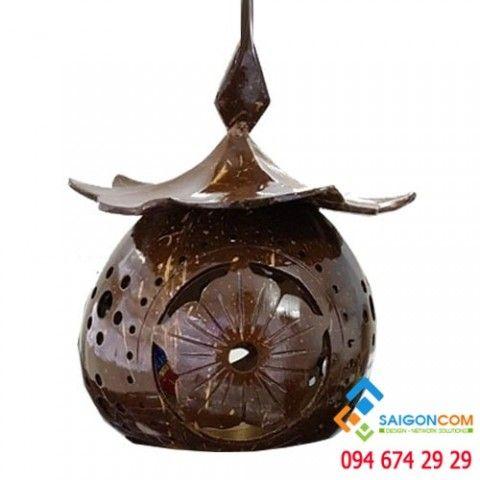Đèn Led gỗ dừa mỹ nghệ trang trí  trái  cây  thả