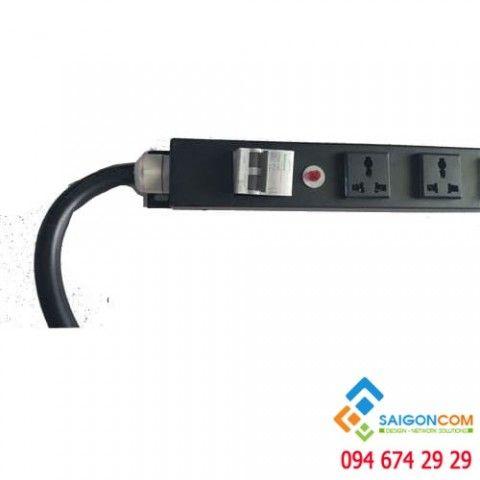 Thanh nguồn tủ rack ổ điện 24 chấu- đầu Công nghiệp- có CB 2 P