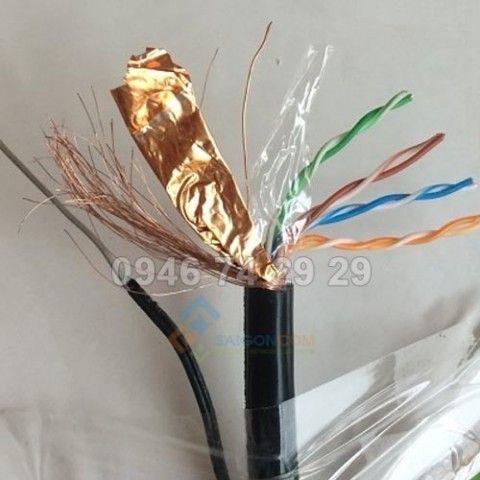 Cáp mạng Aipoo-Link Cat5e S-FTP OFC - OUTDOOR MESSENGER WIRE Đồng nguyên chất - màu đen - cuộn 305M - đi ngoài trời