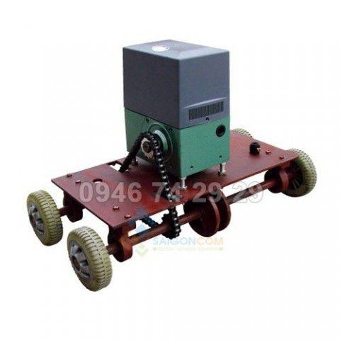 Motor từ cổng xếp inox tự động, sự dụng 2 mô tơ