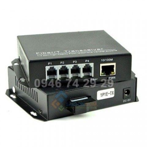 Converter Quang tới Điện Thoại + Mạng 4 RJ11+ 1 RJ45  Lan 100 Mbps