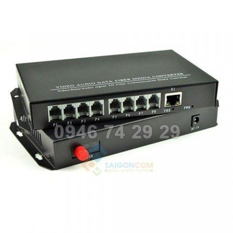 Converter Quang tới Điện Thoại + Mạng 8 cổng ra RJ11+ 1 RJ45  Lan 100 Mbps