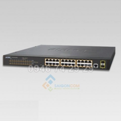 Switch Planet 24-Port 10/100/1000T 802.3at PoE + 2-Port 100/1000X SFP