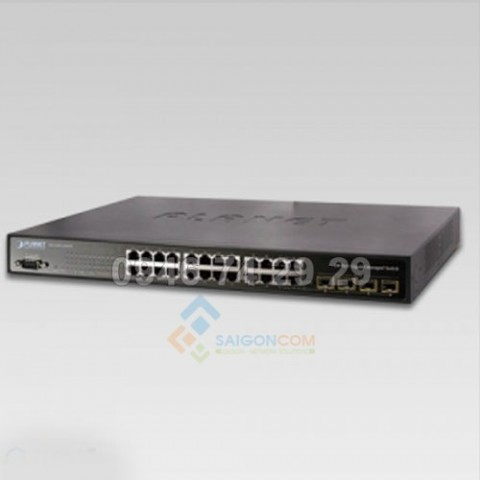 Switch Planet 24-Port 10/100/1000Mbps with 4 Shared SFP and -48VDC Redundant Power