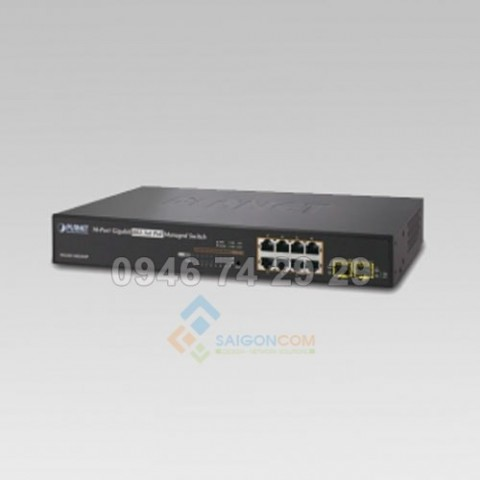 Switch Planet 8-Port 10/100/1000Mbps + 2 100/1000X SFP Managed 802.3at PoE