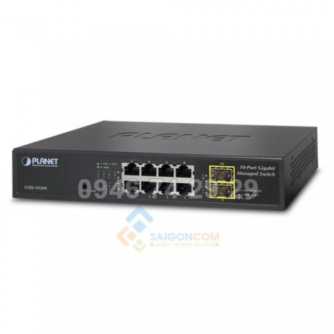 Switch Planet IPv6 Managed 8-Port 10/100/1000Mbps + 2-Port 100/1000X SFP Gigabit Ethernet