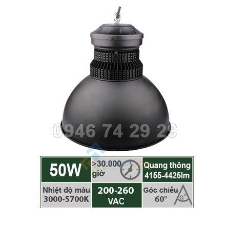 Đèn nhà xưởng 50W mẫu B Vinaled