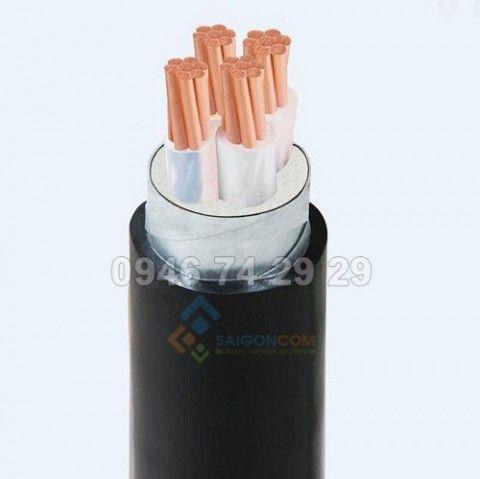 Cáp điện lực hạn thế, 4 lõi, trung tính giảm, ruột đồng nén chặt, có giáp (sợi nhôm), có vỏ bọc, DATA 4x25mm 0.6/1kV