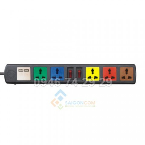 Ổ cắm điện LIOA 6 lỗ 3 chấu 6D32N-usb