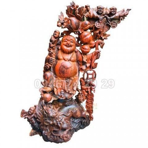Tượng Phật Di Lạc, gỗ trắc 71x45x22cm