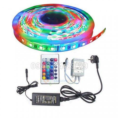 Cuộn đèn Led dây dán 5m RGB full màu + Nguồn + Remote
