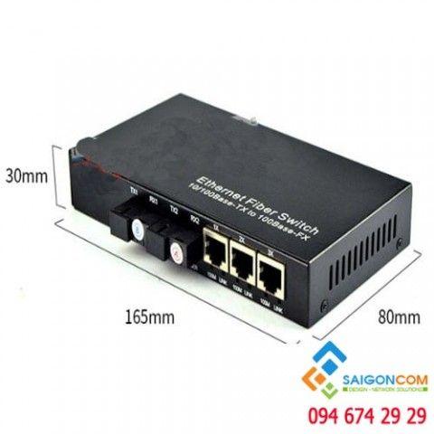 Bộ chuyển đổi quang điện 10/100M, 3 cổng LAN UTP