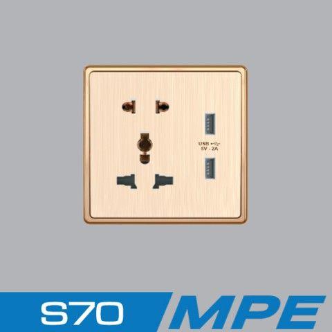 Bộ ổ cắm 3 chấu + ổ cắm 2 chấu + 2 ổ cắm USB MPE S7MS/USB