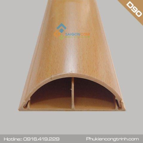 Nẹp bán nguyệt vân gỗ D90 (90x22mm) - nhựa PVC - dài 2m