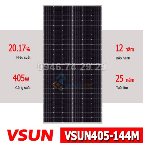 Tấm pin năng lượng mặt trời VSUN mono 405W Half Cell