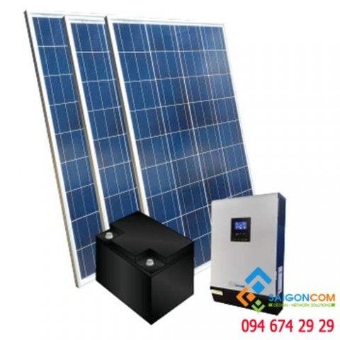 Hệ thống điện NLMT Hoà lưới 2.2kwp/800Ah/3KVA  có Dự trữ ắc quy
