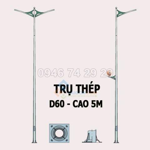 Trụ thép đèn đường 5m  dày 3mm (D60/150)