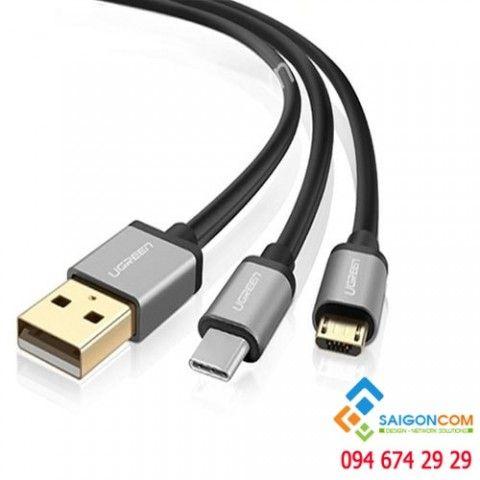 Dây cáp USB 2.0 2 đầu tách đôi Type-c và micro USB Ugreen dài 0.5M