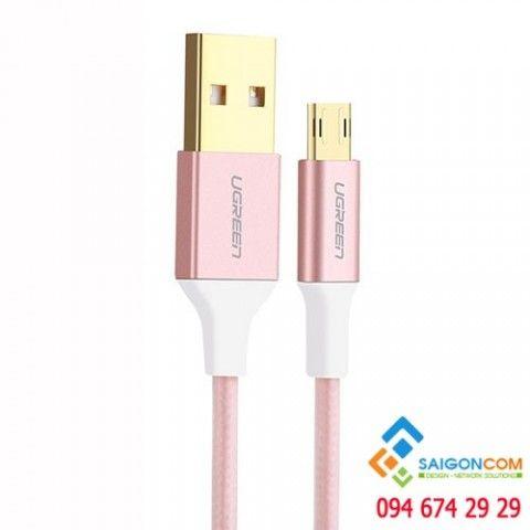 Cáp sạc Micro USB cắm hai chiều 1M Ugreen màu hồng