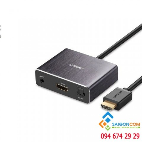 Cáp chuyển đổi HDMI sang HDMI + Audio 3.5mm và 1 cổng quang SPDIF 5.1/7.1 chính hãng Ugreen UG-40281 cao cấp