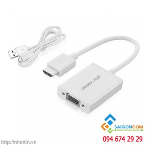 UGREEN chuyển đổi HDMI sang VGA+3.5mm Audio + Micro USB Converter Aluminium Case - MM102