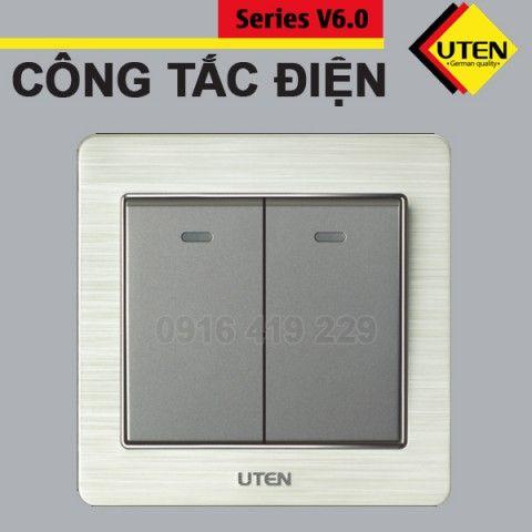 Bộ 2 công tắc điện 1 chiều Uten V6.0GK21