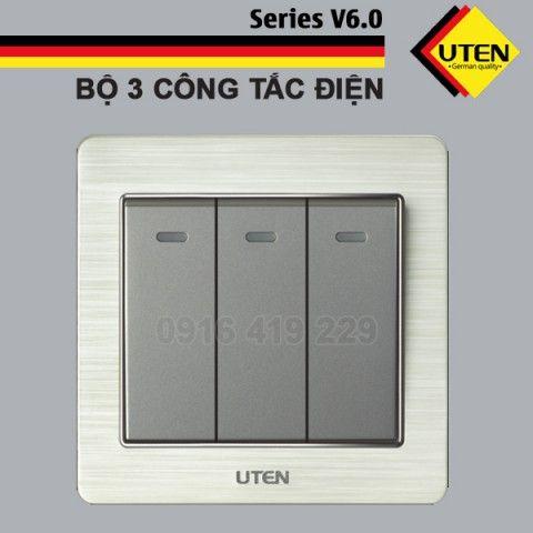 Bộ 3 công tắc điện 1 chiều Uten V6.0GK31