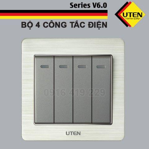 Bộ 4 công tắc điện 1 chiều Uten V6.0GK41