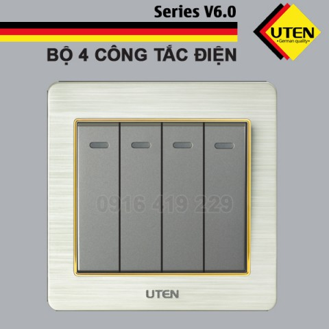 Bộ 4 công tắc điện 2 chiều Uten V6.0GK42