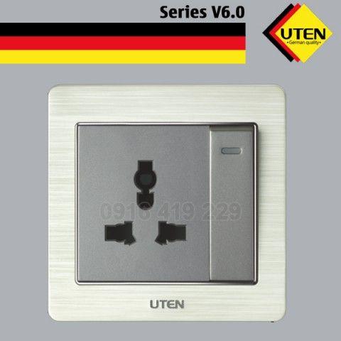 Bộ công tắc 1 chiều và ổ cắm 3 chấu Uten V6.0GK11Z13/N