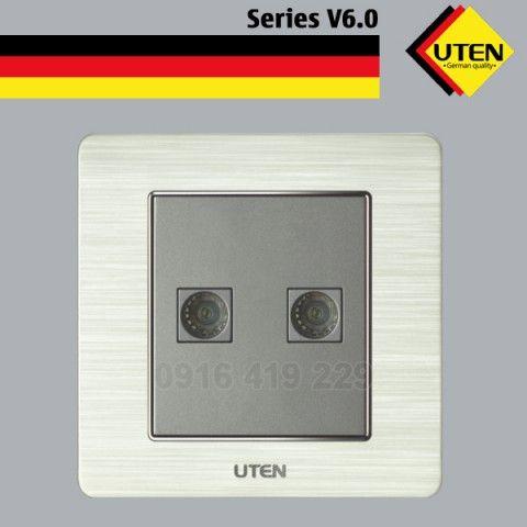 Bộ 2 ổ cắm ti vi - mặt vuông UTEN 6.0G-2TV