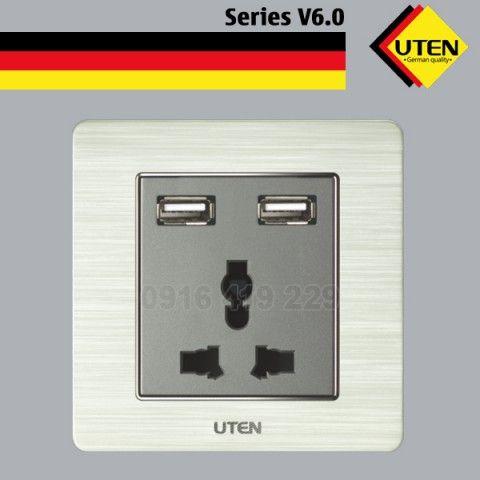 Bộ ổ cắm điện 3 chấu và 2 ổ cắm USB UTEN V6.0GZ13/2NU