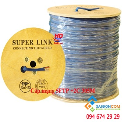 Cáp mạng CAT 5E FTP+2C Superlink